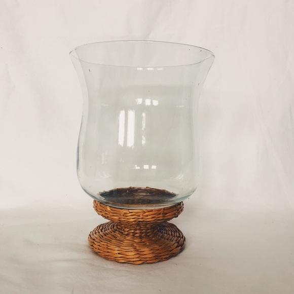 Vintage Mid-Century Rattan Base Vase